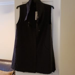 Eileen Fisher long silk quilted vest